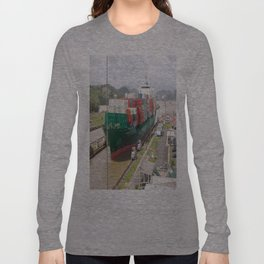 A cargo ship crossing the Miraflores locks at the Panama Canal Long Sleeve T-shirt