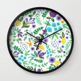 Lavender and Lemons Wall Clock