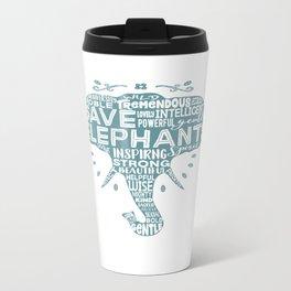 Save Elephants - Word Cloud Silhouette Metal Travel Mug