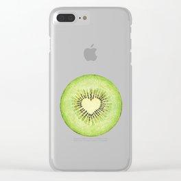 Kiwi illustration, green fruit Clear iPhone Case