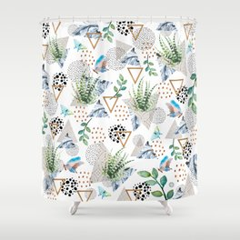 Geometric with cactus and butterflies Shower Curtain