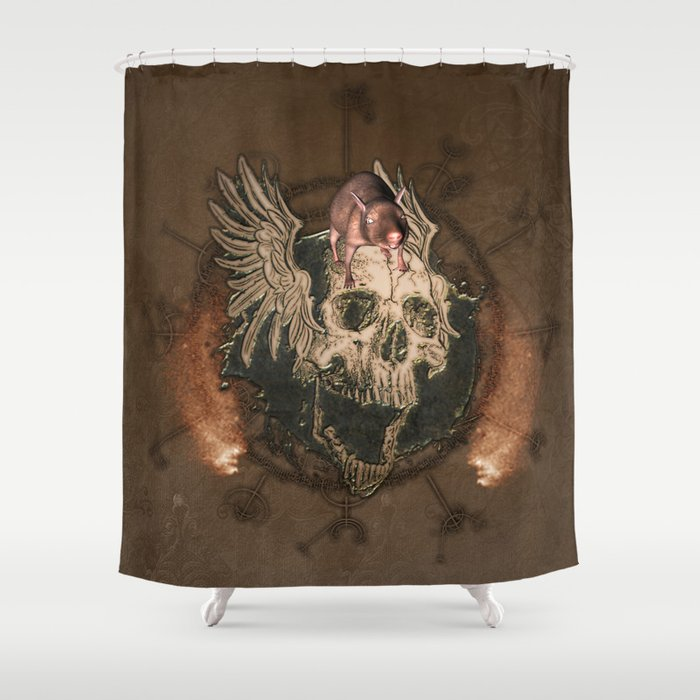 Awesome Creepy Skull With Rat Shower Curtain