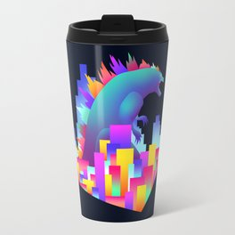 Neon city Godzilla Travel Mug
