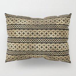 Chic Black and Gold Irish Knot Rows  Pillow Sham