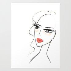 Red lips girl Art Print