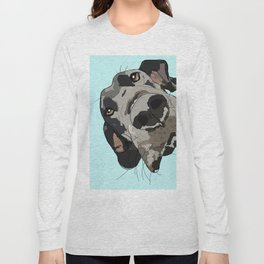 Great Dane in your face (teal) Long Sleeve T-shirt