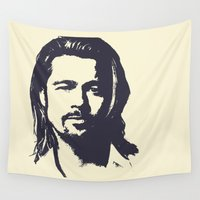 brad pitt Wall Tapestries featuring Brad Pitt by Dora Birgis