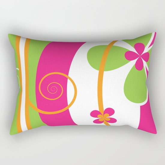 Colorful Spring Floral Graphic Art II Rectangular Pillow