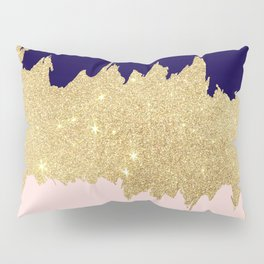 Modern navy blue blush pink gold glitter brushstrokes Pillow Sham