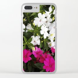Patient Impatiens - Deep Pink and Sparkling White Clear iPhone Case