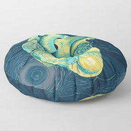 Anatomical Human Heart - Starry Night Inspired Floor Pillow