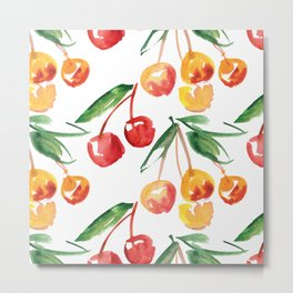 Watercolor Cherry Pattern Metal Print