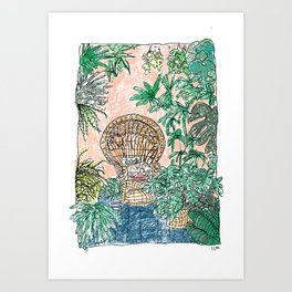 Tropical Coral Jungle Room with Sleeping Cat Art Print
