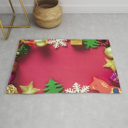 Christmas frame pink background New Year frame for cards balls tree Rug