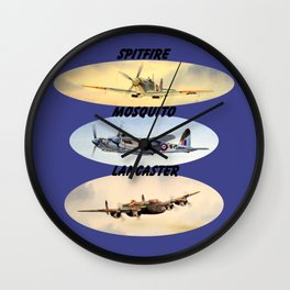 Spitfire Mosquito Lancaster Montage Wall Clock