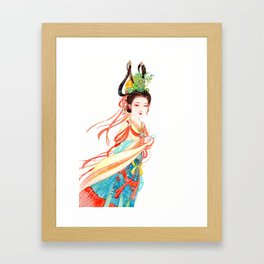 Watercolor Chinese Beauty -  Dunhuang Framed Art Print