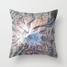 Vintage Mount Rainier Topographical Relief Map Washington Throw Pillow