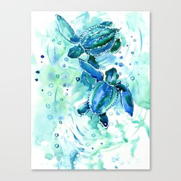 Turquoise Blue Sea Turtles in Ocean Canvas Print