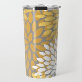 Floral Pattern, Yellow, Pale Yellow and Gray Travel Mug