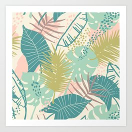 Beautiful Exotic Colorful Leaf Pattern Art Print