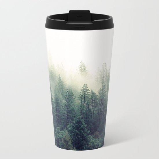 Foggy Winter Forest Metal Travel Mug