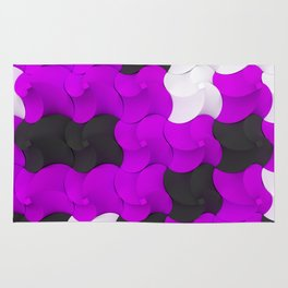 Black, white and purple twisted pyramids Rug