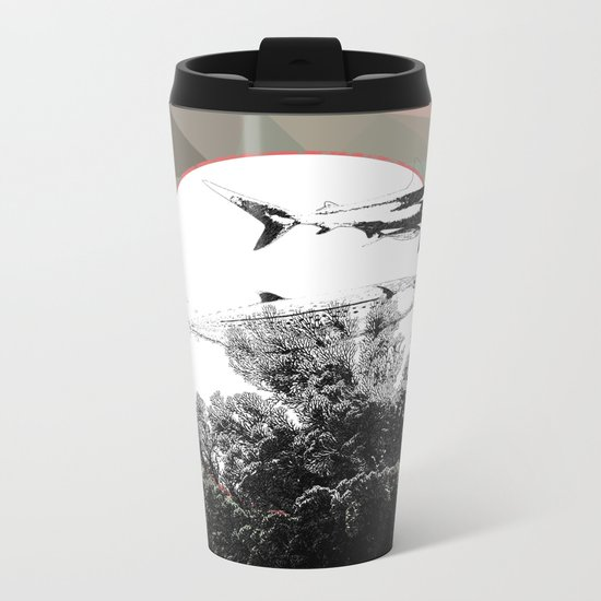 Underwater Abstract Fishes Design Metal Travel Mug