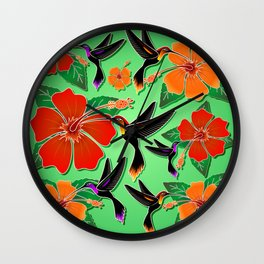 Hummingbird and Hibiscus Batik Pattern Wall Clock