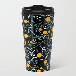 Oranges Black Metal Travel Mug