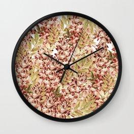 Vintage boho mauve pink dusty green floral Wall Clock