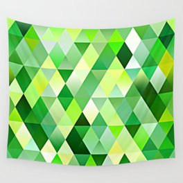 Lime Green Yellow White Diamond Triangles Mosaic Pattern Wall Tapestry