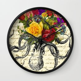 Octopus Attacking Flowers Wall Clock