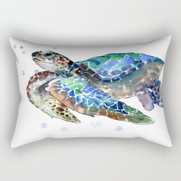 Sea Turtle, Green Blue, sea turtle under water, sky blue Rectangular Pillow