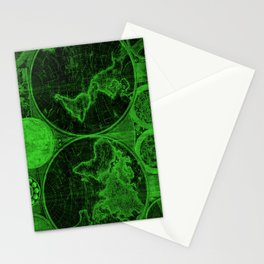 World Map (1794) Black & Green Stationery Cards
