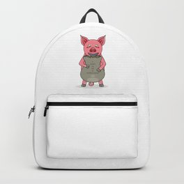pig and bag with gold coins Backpack
