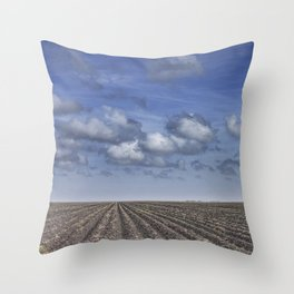 Farm Furrows in a Texas Field Throw Pillow