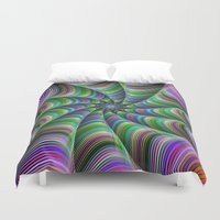 striped Duvet Covers featuring Striped tentacles by David Zydd