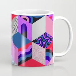 Isometric Cubes - Teal/Orchid/Strawberry Coffee Mug