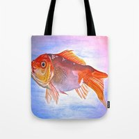goldfish Tote Bags featuring Goldfish by Jaime Viens