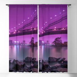Rocky Shore Sight Of Urbanscape And Bridge Violet Hue High Resolution Blackout Curtain