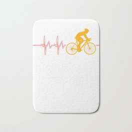 Cycling Heartbeat Bicycle Cylist Bicycling Exercise Workout Gift Bath Mat
