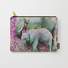 Elephant art mother child pink floral Carry-All Pouch