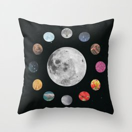 Full Moons Throw Pillow