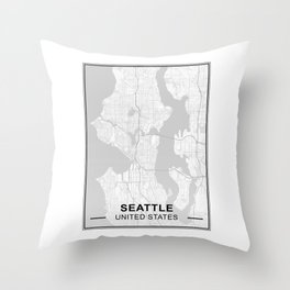 Map of Seattle Throw Pillow