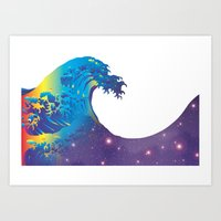 hokusai Art Prints featuring Hokusai Universe by FACTORIE