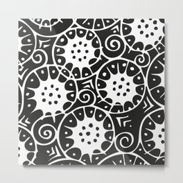 Black and White Swirl Pattern Metal Print