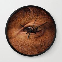Highland Cow's Eye Closeup Wall Clock