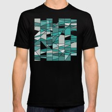 Turquoise and grey MEDIUM Black Mens Fitted Tee