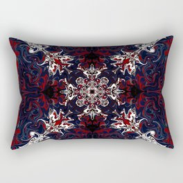 Psychedelic Black, Red and White Pattern Rectangular Pillow
