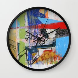 Abstract Mixed Media Compositon V.Threeve Wall Clock